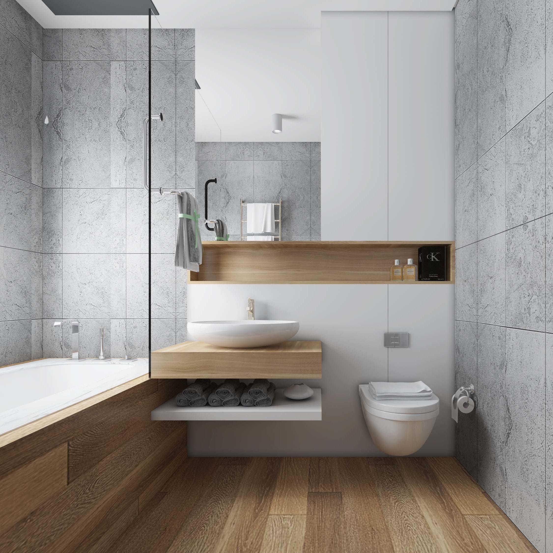 Wood & Marble Design in Bathroom