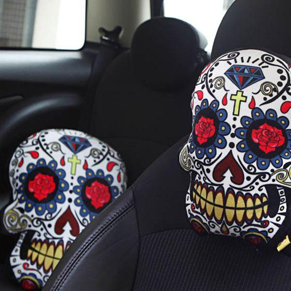 Phenomenal Sugar Skull Car Pillow From Apollo Box Machost Co Dining Chair Design Ideas Machostcouk