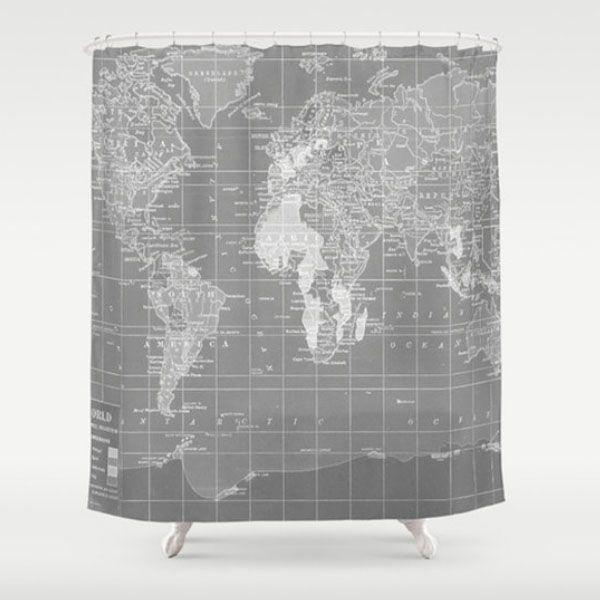 World Map Shower Curtain Apollobox