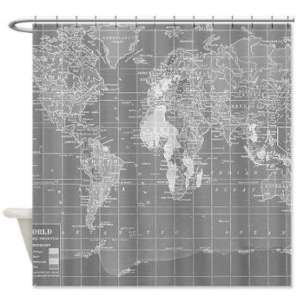 Product Image For World Map Shower Curtain