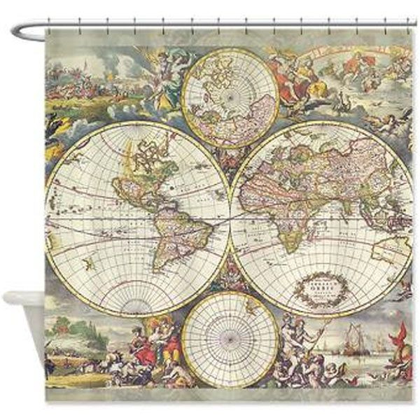 Product Image For Four Hemisphere World Map Shower Curtain