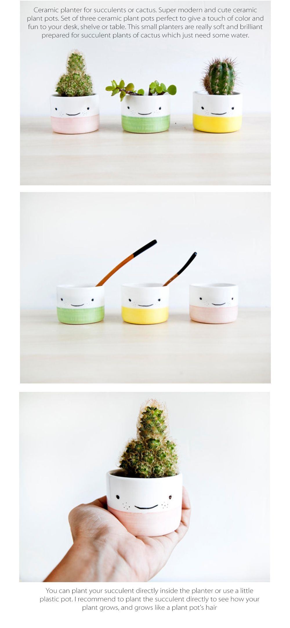 Small ceramic planter with face for succulent Small Ceramic plant pot indoor Smile face planters Pottery planter pot Small planter set
