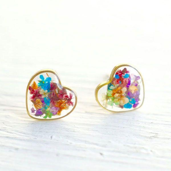 Resin Heart Earring studs