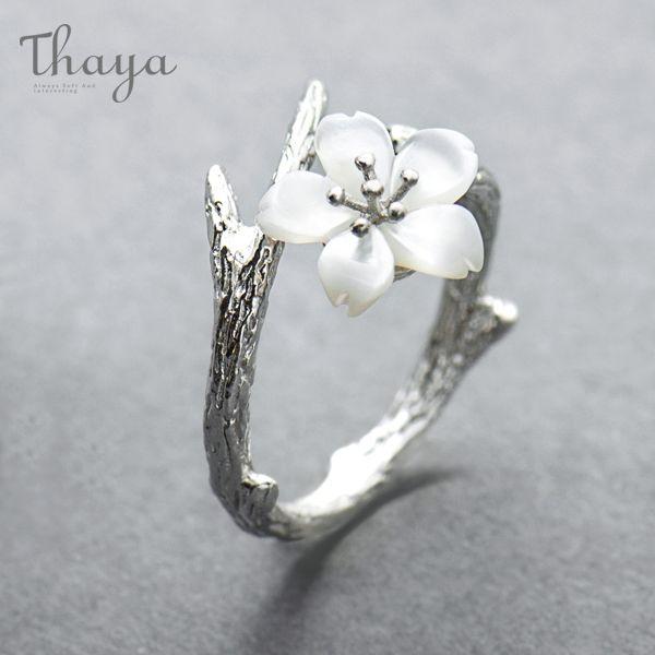 White Cherry Blossom Silver Ring