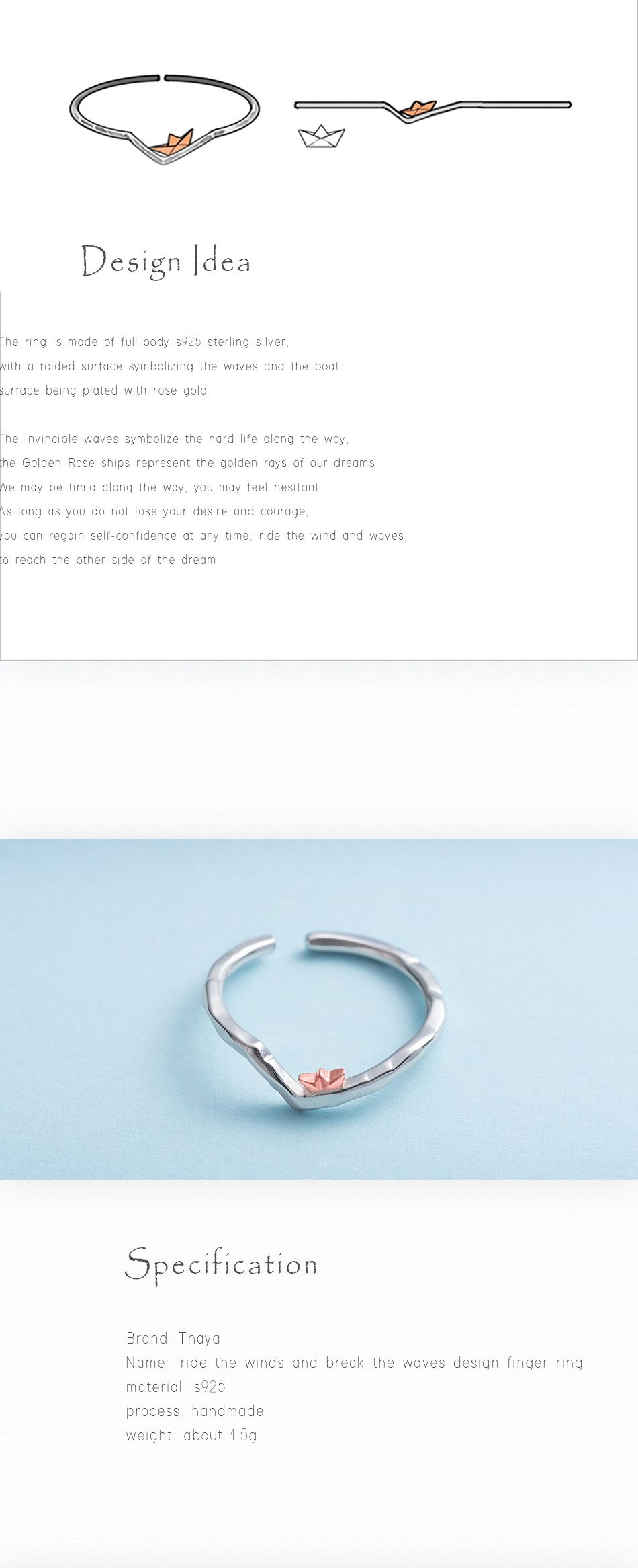 Thaya Ride The Winds and Break The Waves Design Finger Ring Rose Gold s925 Silver Handmade jewelery