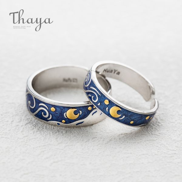 Thaya Van Gogh's Sky Design Handmade Drawing Ring