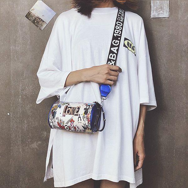 Small Graffiti Cylinder Handbag