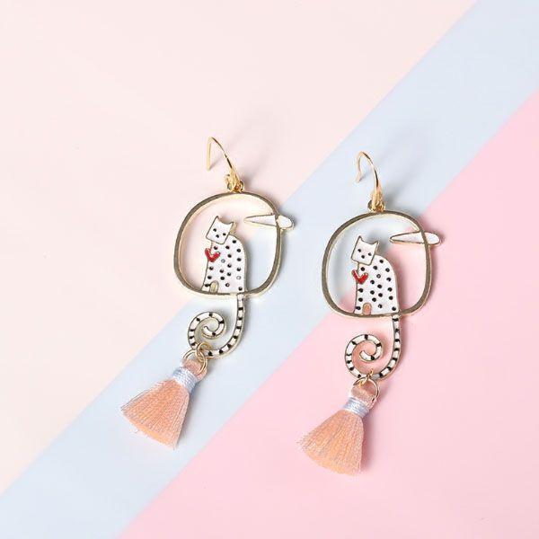 Polka Dot Cat Tassel Earrings
