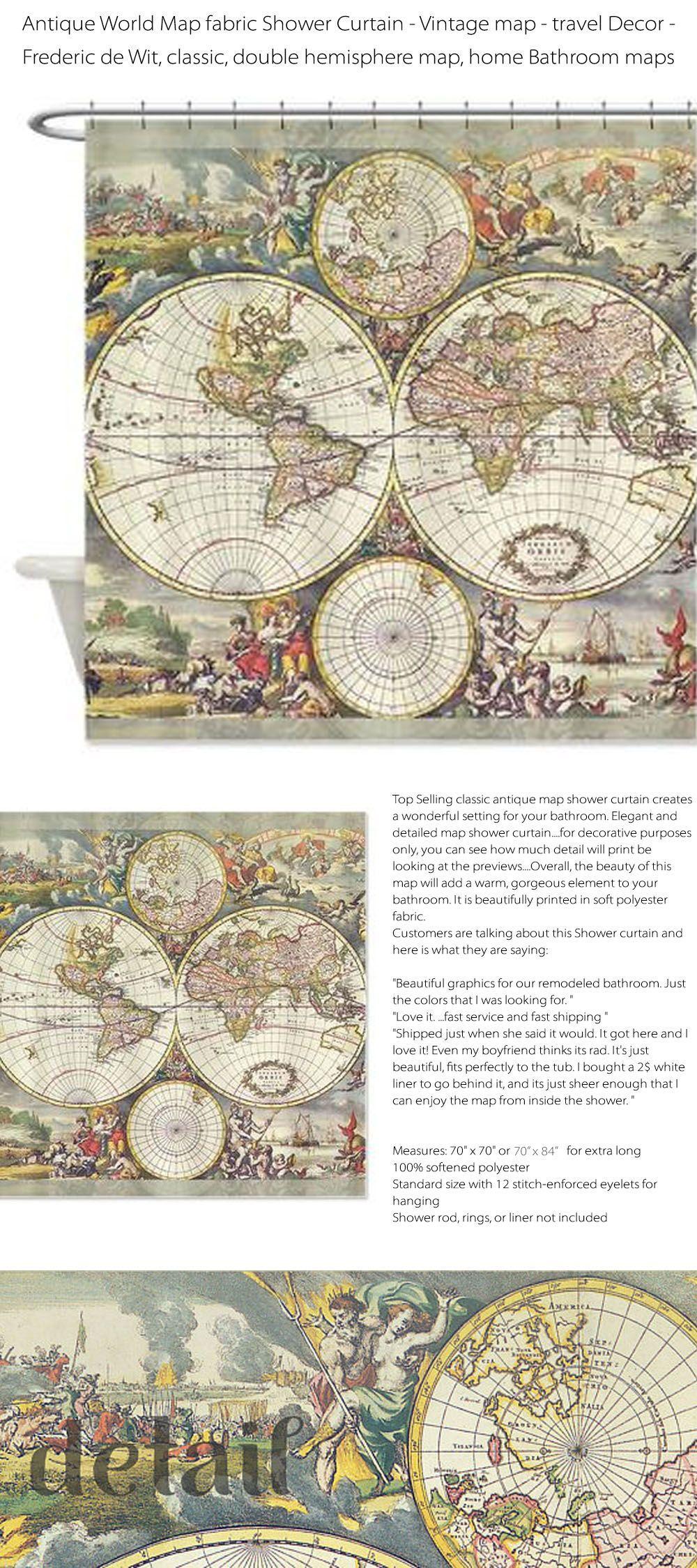Four Hemisphere World Map Shower Curtain Frederick De Wit