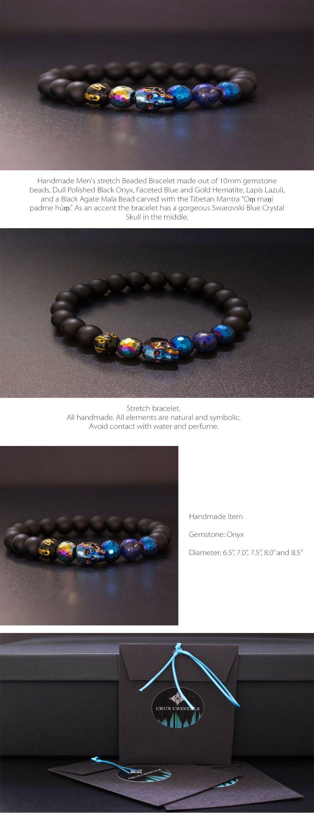 dd327b51d97c Men s Blue Swarovski Crystal Skull Beaded Bracelet Gemstone Black Onyx