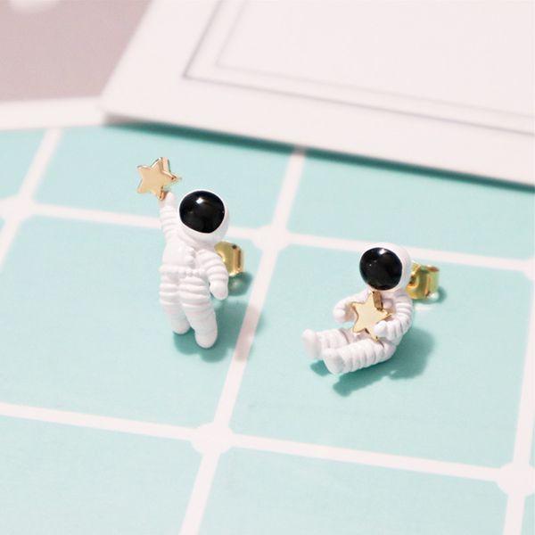 Asymmetric Astronaut Star Earrings