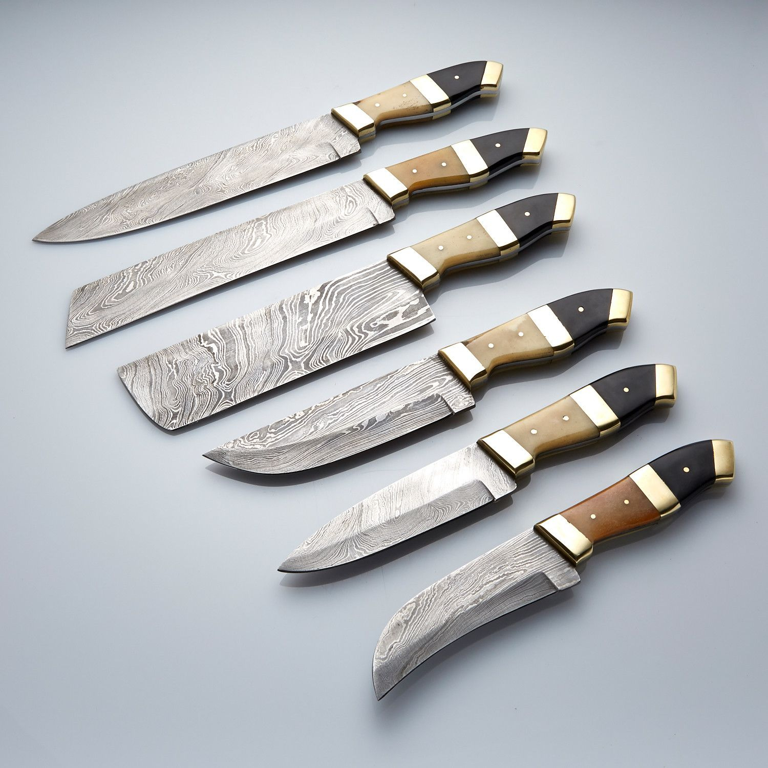6 pcs custom made damascus chef/kitchen knife set