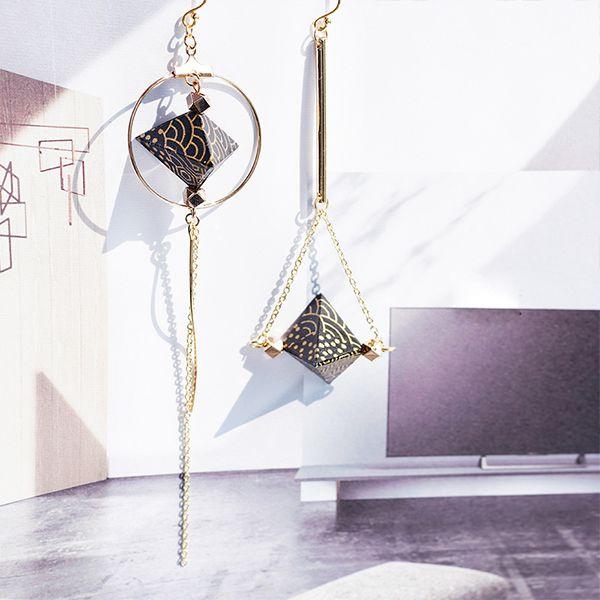 Geometric Origami Drop Earrings