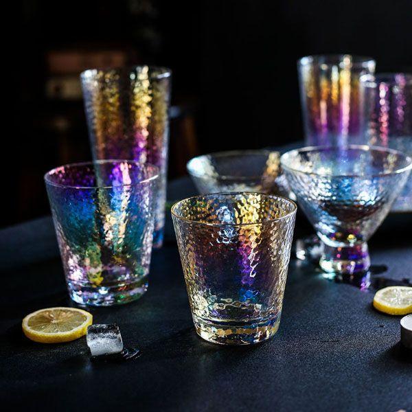 Iridescent Hammered Glassware