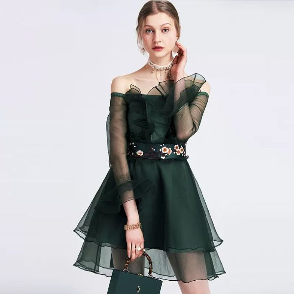 df64087a192f ... product thumbnail image for Dark Green Off Shoulder Dress ...