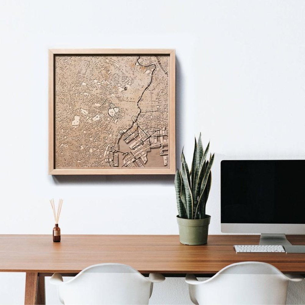 Wood Map Wall Art Tokyo Wooden Map   ApolloBox