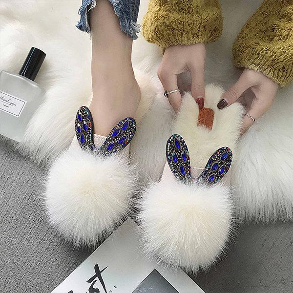Jewel Embellished Pom Pom Slippers