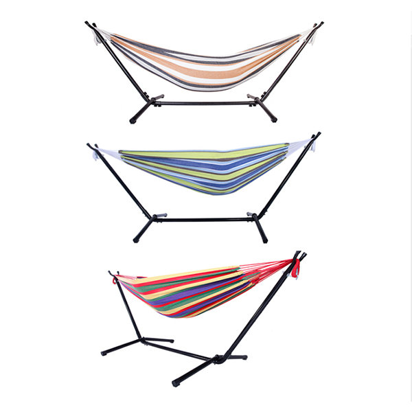 product image for Striped Hammock With Steel Stand