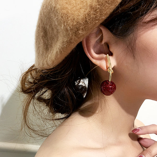 Sparkling Cherry Knot Drop Earrings