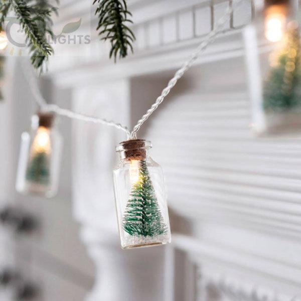Christmas Tree Glass Jar String Lights