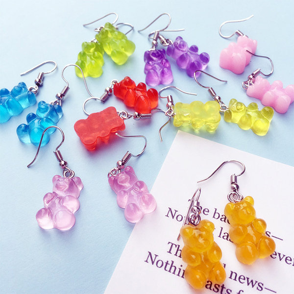 Colorful Candy Bear Earrings