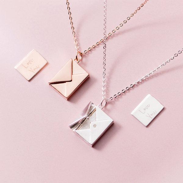 925 Sterling Silver Envelope Necklace