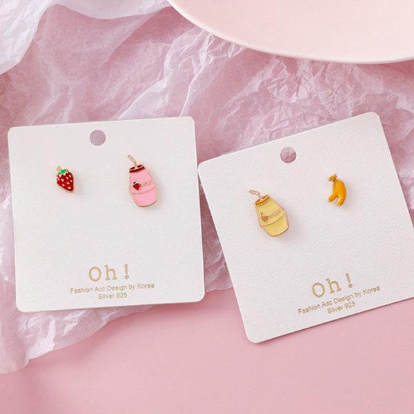 Asymmetric Strawberry Milk Earrings