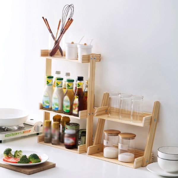 Tiered Wooden Spice Rack
