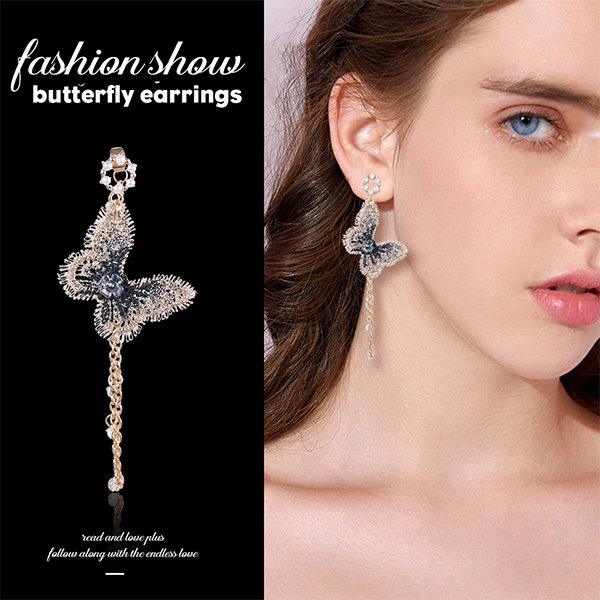 Butterfly Drop Crystal Dangles