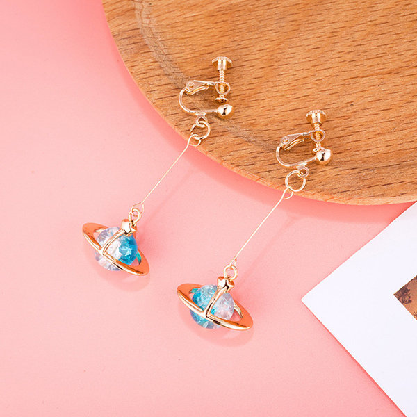 Round Blue Planet Earrings