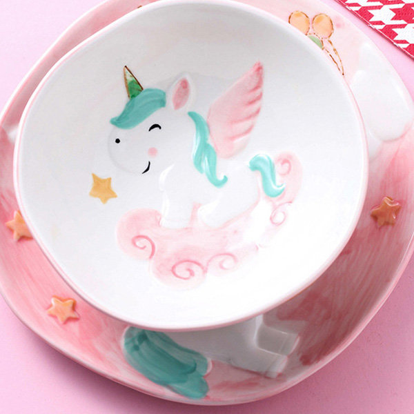 Unicorn Childrens Crockery Set with Plate Cereal Bowl and Cup