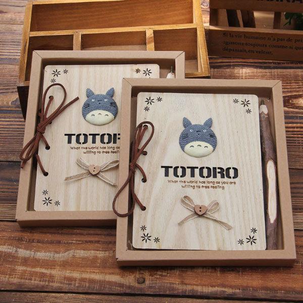 Cute Wooden Totoro Notebook