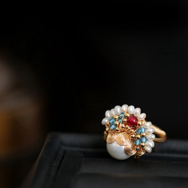Trendy Women Peking Opera Face Masks Ring Crystal Pearl Jewelry Finger Ring C