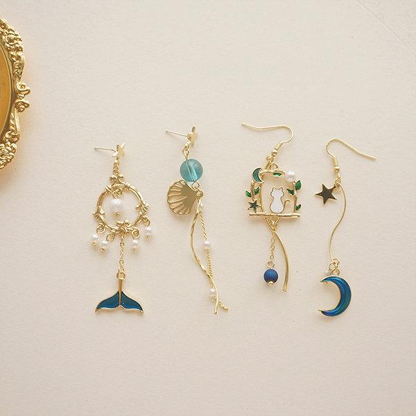 Mermaid and Cat Style Earrings