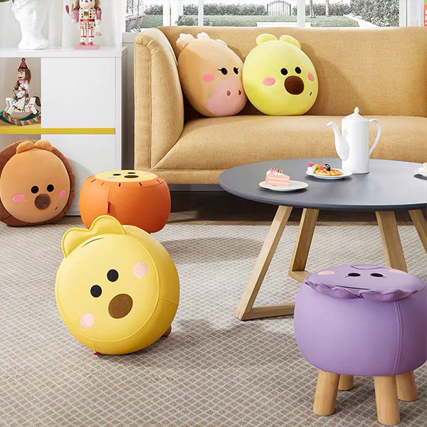 Cartoon Solid Wood Stool