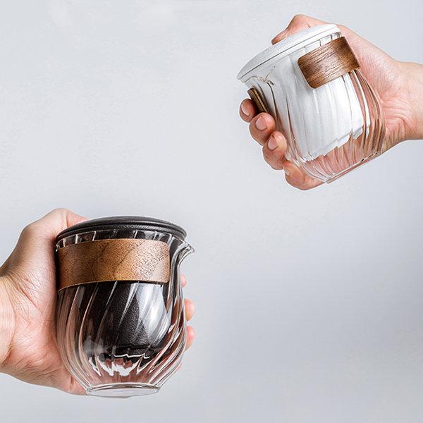 玻璃螺旋图案旅行茶具