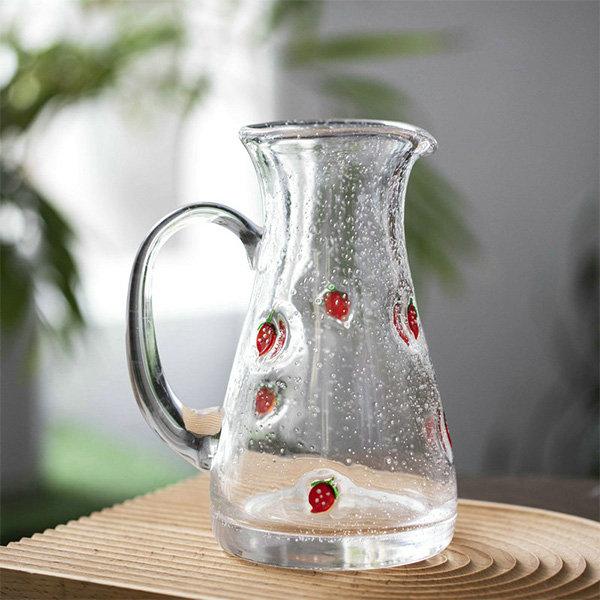 Glass Strawberry Pitcher
