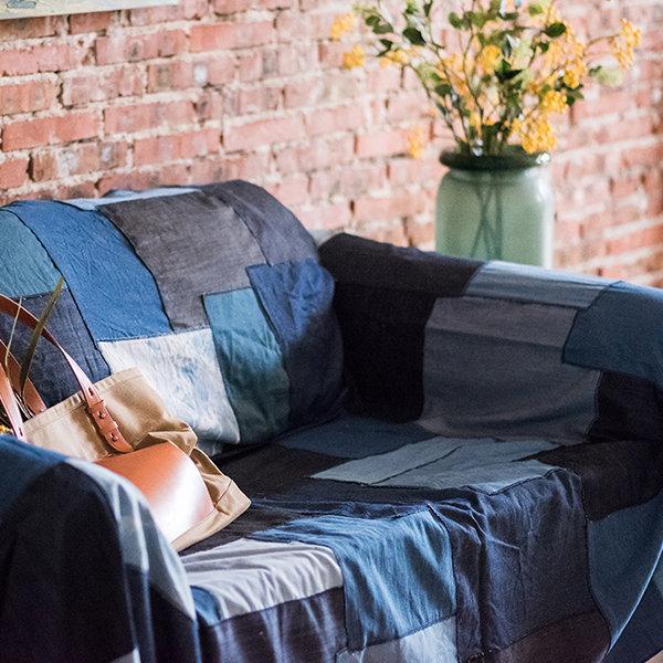 Denim Patchwork Sofa Cover Apollobox, Denim Sofa Cover
