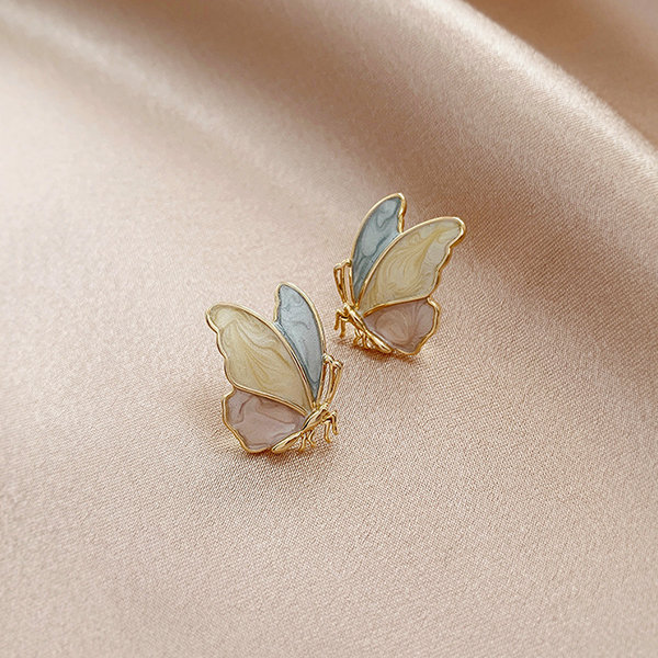 Tri-Color Butterfly Studs