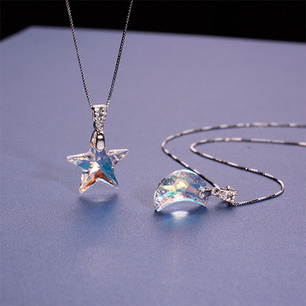 Crystal Moon Or Star Necklace