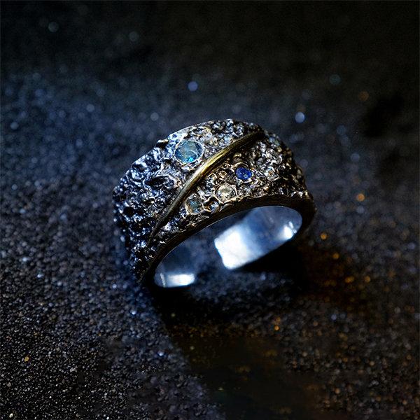 纯银天然钻石环