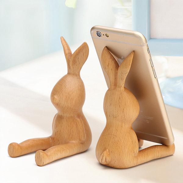 Wooden Rabbit Phone Holder