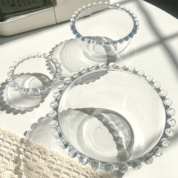 Glass Bowl with Round Detail